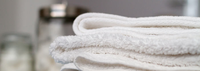 Pile of towels in a treatment room